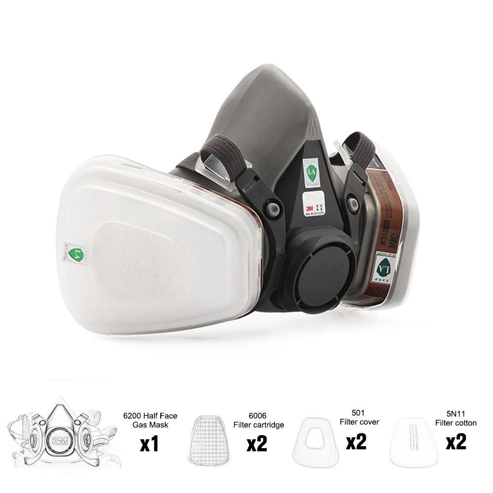 6200 قناع الوجه PM2. 5 نصف الوجه الطلاء قناع الغاز التنفس 7 في بدلة واحدة
