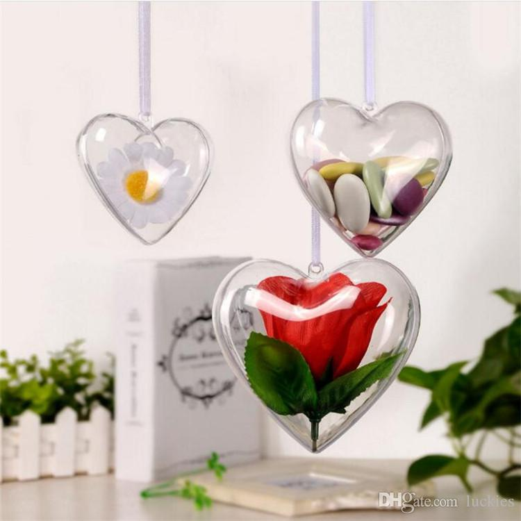2017 nuovo arrivo a forma di cuore in plastica trasparente piccoli gioielli bomboniera piccola parte di immagazzinaggio Caso Xmas Tree Ornamento delle decorazioni regalo Hanging