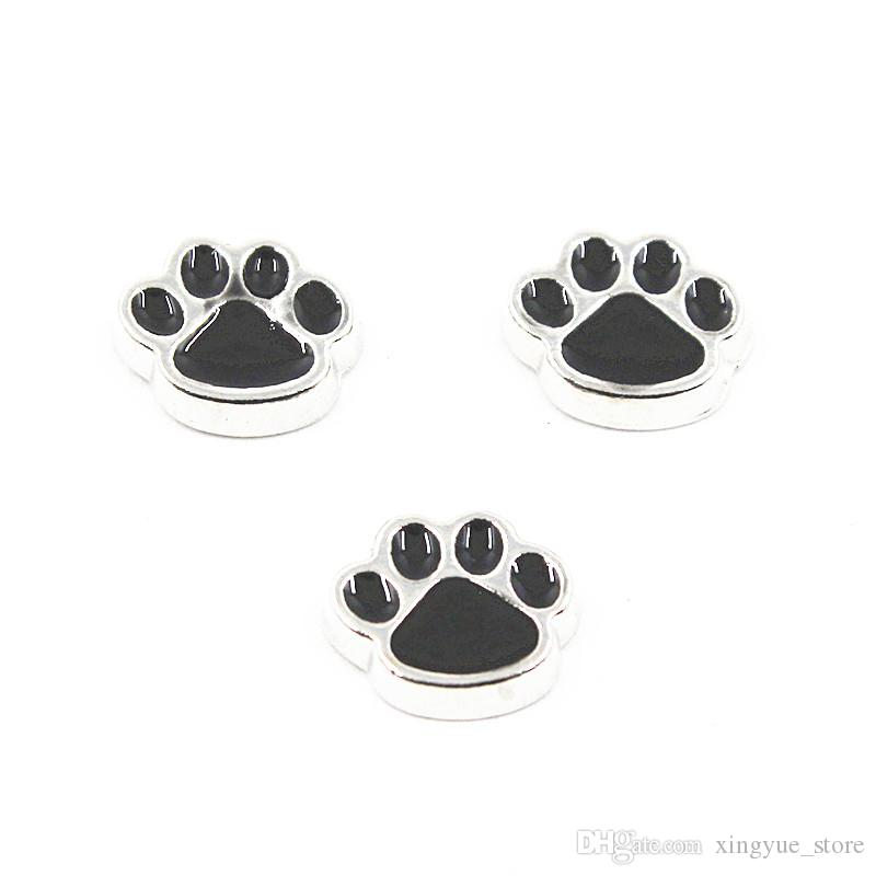 50pcs/lot Metal Enamel Dog Paw Floating Charms For Living Glass Floating Lockets Necklace & Bracelet DIY Jewelry
