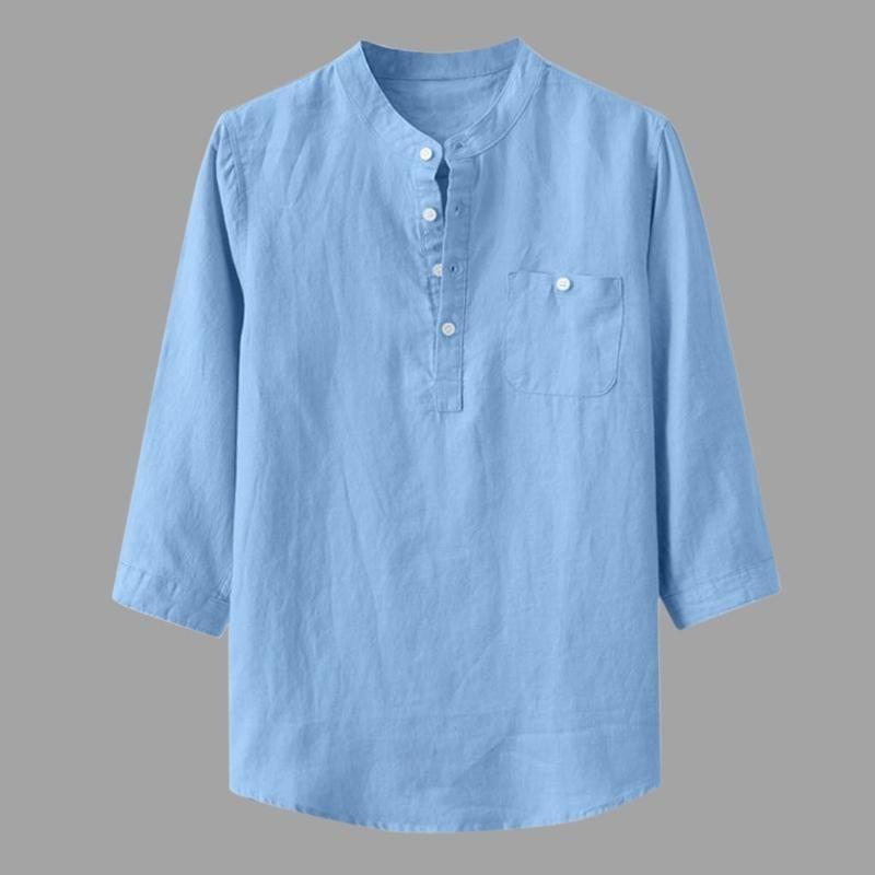 Мужские рубашки Камиза Повседневный Багги Хлопок белье мужчины рубашку Твердая три четверти рукава Стенд Воротник Мужчины Блуза Топ Camisas Hombre