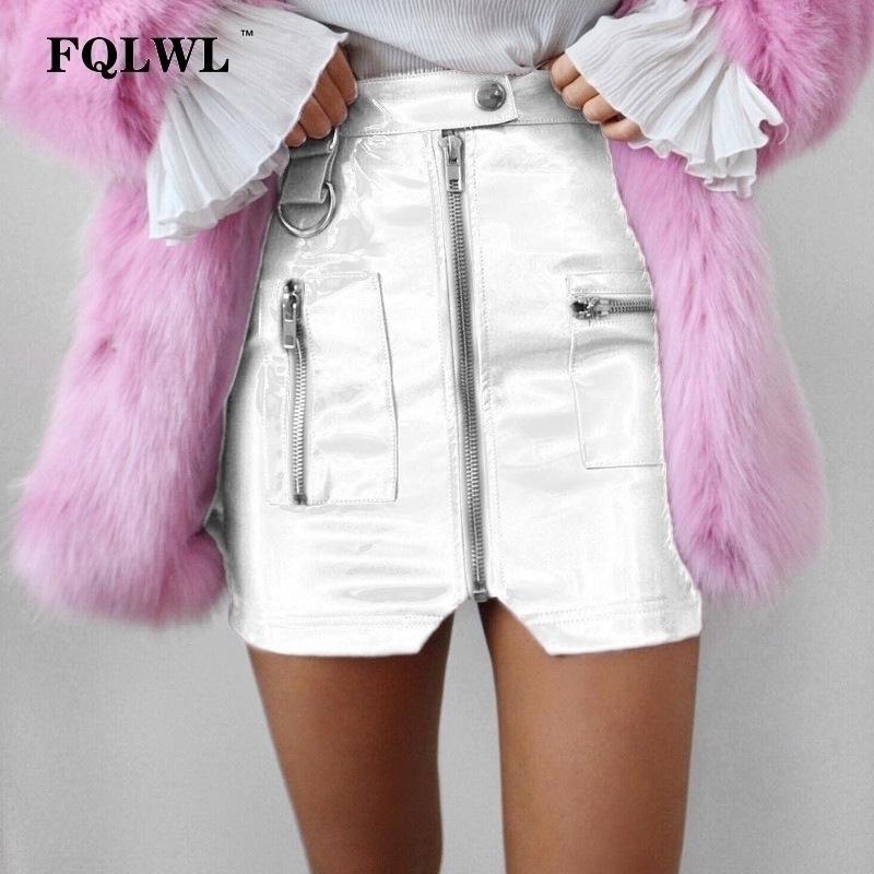 Fqlwl Pvc Faux Deri Etek Kadın Fermuarlı Cebi Sıska Mini Lateks Etek Pullu Beyaz Siyah Seksi Kulübü Patenci Yaz Etek Kalem S19715