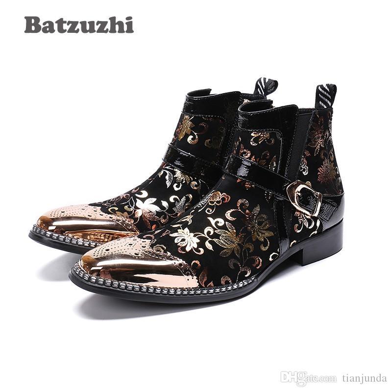Batzuzhi Rock zapatos de hombre Uomo Stivali Caviglia Stivali in pelle oro nero Stivali Moto moto botas hombre Italia Partito Stivali Uomo