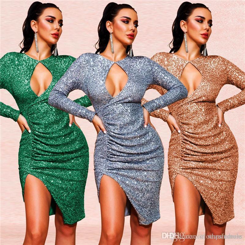 Сексуальный женский клуб платье с длинным рукавом сплошной цвет женщин Асимметричный платье блестки конструктора дамы моды платье