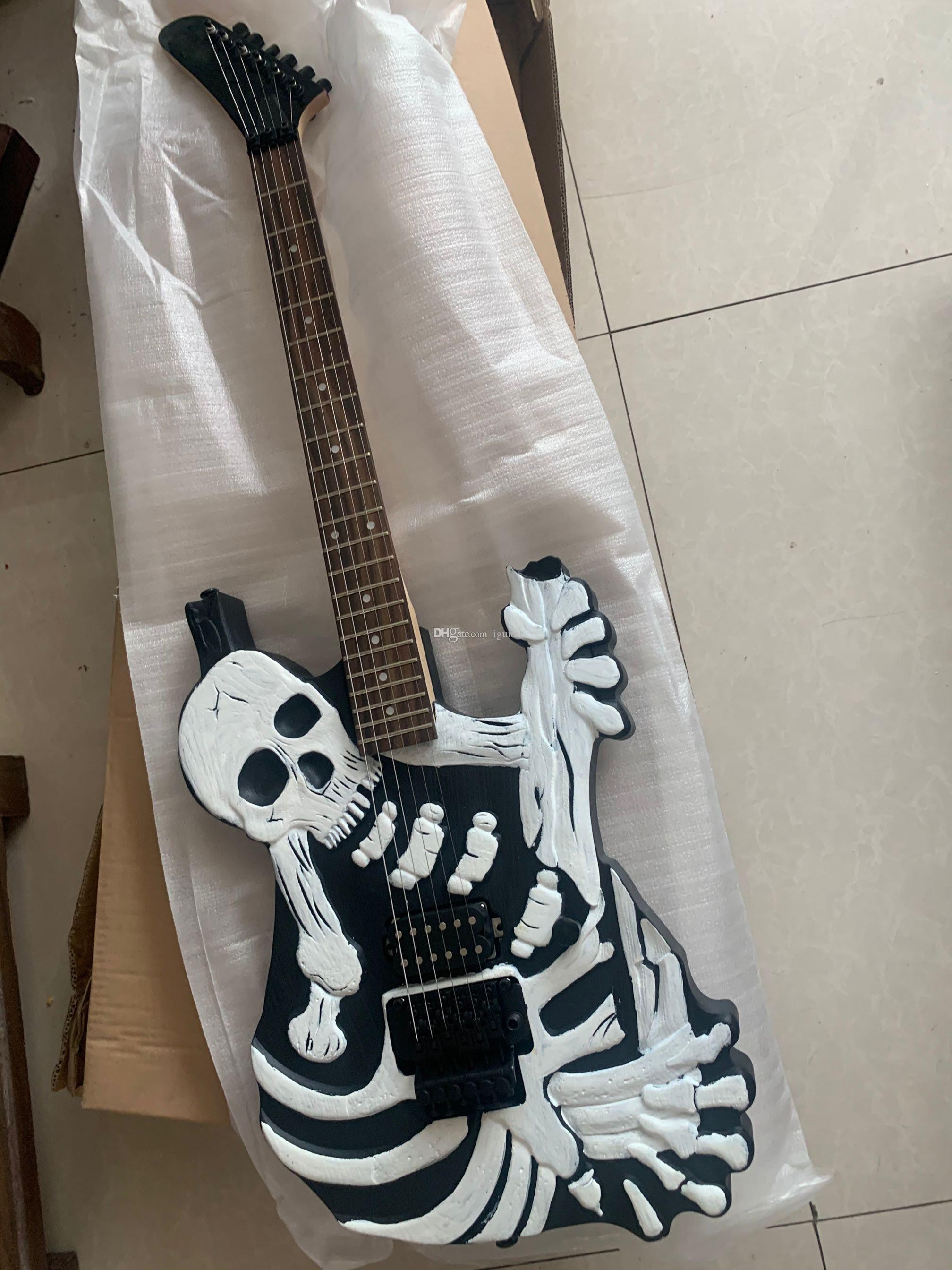 Rare China Made Skull N Bones Mr Scary Electric Guitar Johnny, Black Hardware Guitars