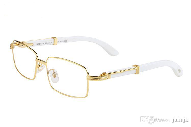 Óculos de sol novos chegada de moda para chifre homens búfalo branco vidros ópticos de bambu quadros de madeira com claros lentes óculos com caixa