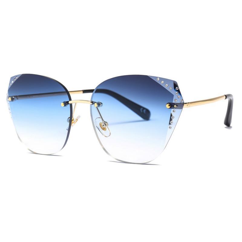 23071 cut edge diamond sunglasses female 2019 new sunglasses Brand Designer Bee Eyewear for Female Diamond Gradient Lens Sun Glasses Women