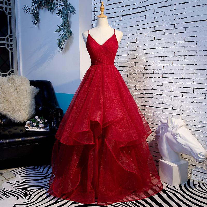 Real Photos Dark Red Prom Dress Ball Gown Spaghetti Backless Floor Length Evening Gowns 2020 New Arrival