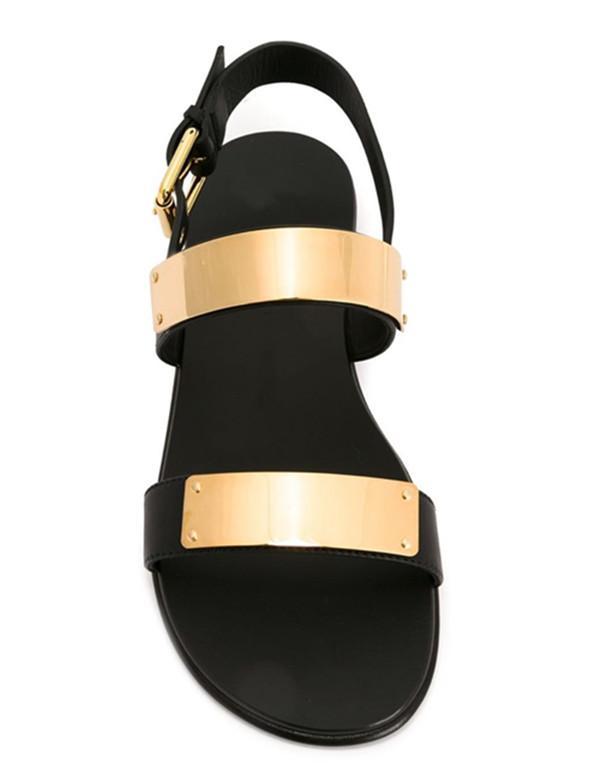 Hot Sale-plage Chaussures Mode Décoration Métal Sandales plates en cuir Tide Casual Pantoufles homme Gladiator Sandales EU38-EU46