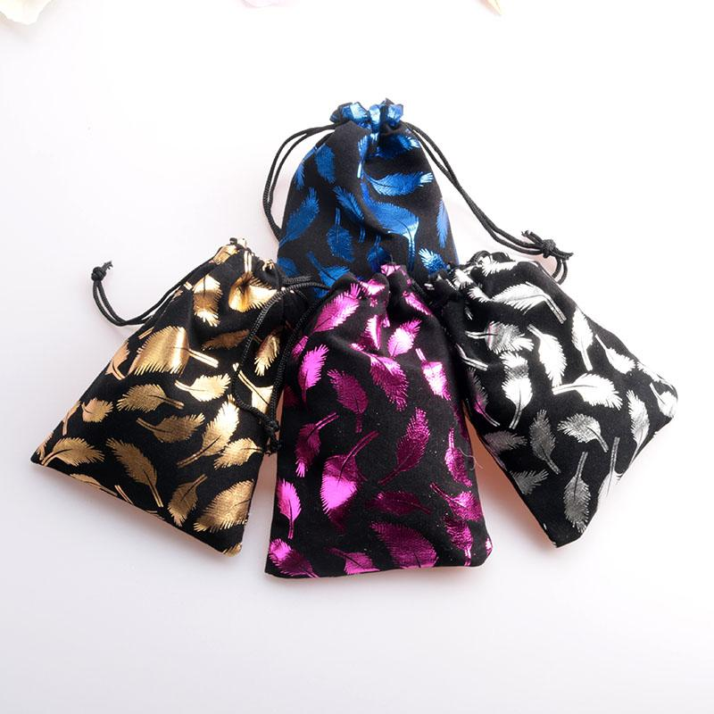 200pcs 8x10cm/10x14cm Feather Print Velvet Bag Drawstring Jewelry Pouch Candy Jewelry Packaging Bag Small Gift Bag Party Supply