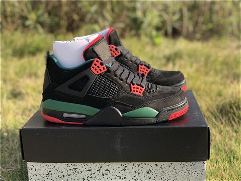 2019 Limited 4 Iv Nrg Черный Пиццерия для мужчин Баскетбол Обувь Черный Красный Зеленый замша Aq3816-163 Аутентичные Спортивная обувь с коробкой