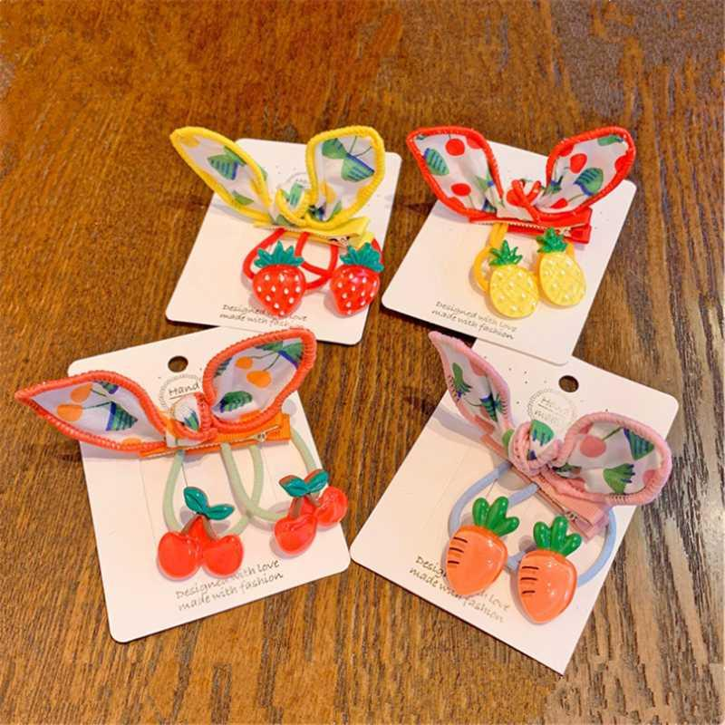 8set/lot Kids Cute Hair Ropes Bow Hair Clip Ear Fruit Strawberry Rope Hiarpin Ponytail Girl Fashion Accessories