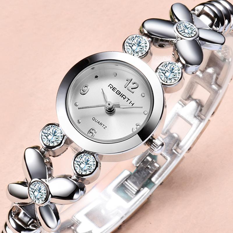 Manera de las mujeres reloj de señoras de los relojes del Rhinestone del diseño minimalista de cuarzo clásico reloj de acero correa de reloj femenino elegante Pequeño