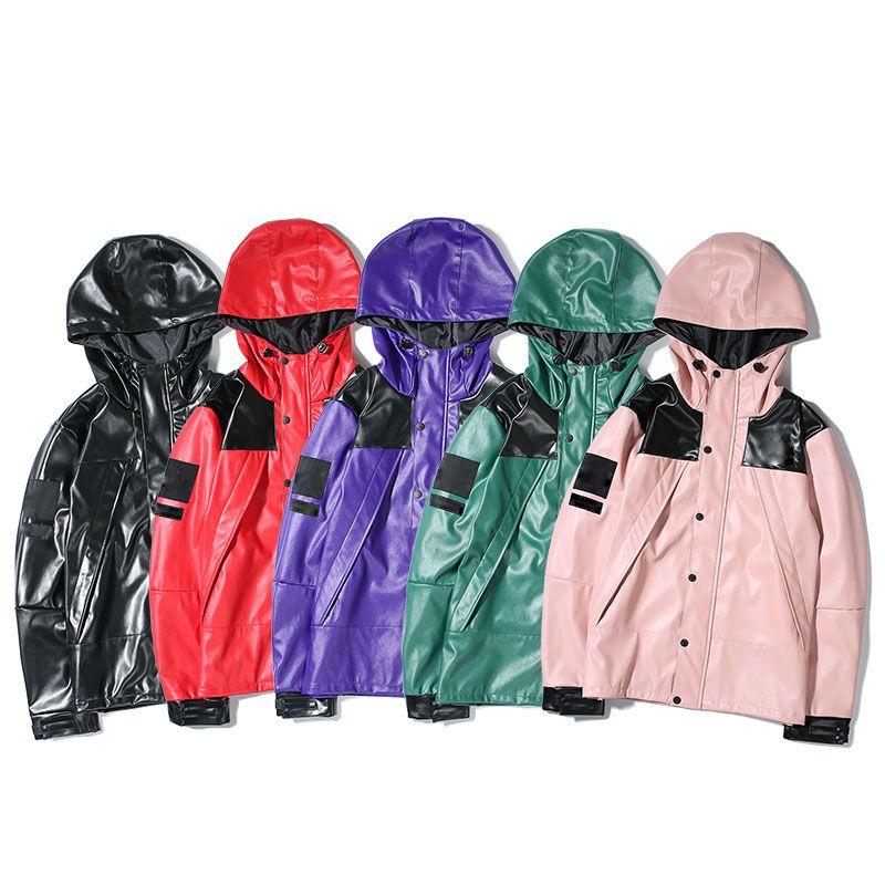 2019 Windbreaker Classic Cooperation Bogo Leather Sitiching Color Blocking Women Men Jacket Hiphop Streetwear Men Jacket Coat