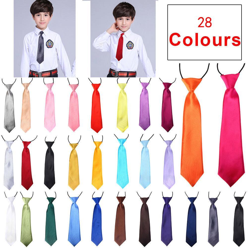 New School Boys Kids Children Baby Wedding Solid Color Elastic Tie Necktie