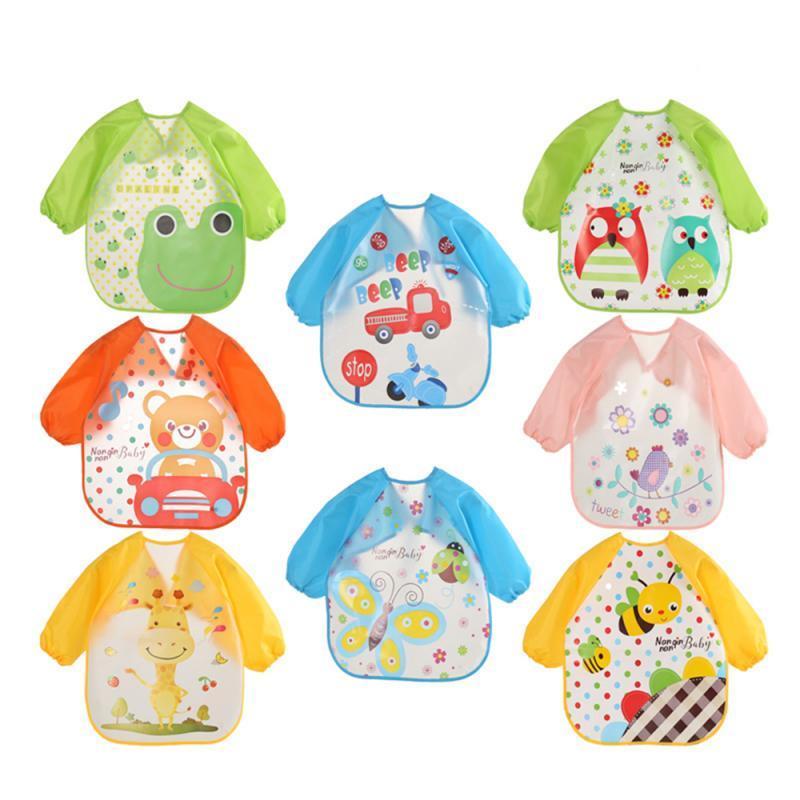 Muchachas de los bebés de manga larga impermeable Alimentación Arte delantal del babero del delantal lindo baberos Animal paños del niño accesorios niños