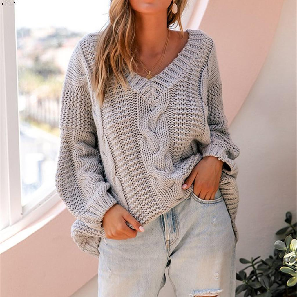 Women's V Collar Sweater Pure Color Large Size Pullovers Autumn Spring Long Sleeves Jumper Simple Casual Style Sweaters##45