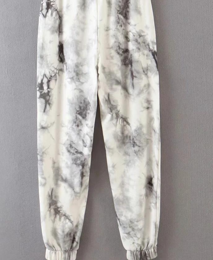 New Mulheres empate tinta do vintage tingido pintura Calça de Jogging chiques femininos elásticas pantalones casuais cintura mujer arco calças