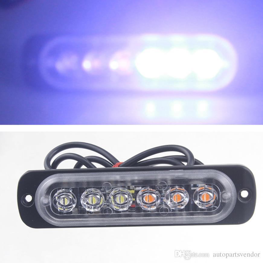 Auto led light Amber 6 LED Car Truck Emergency Beacon Warning Hazard Flash Light