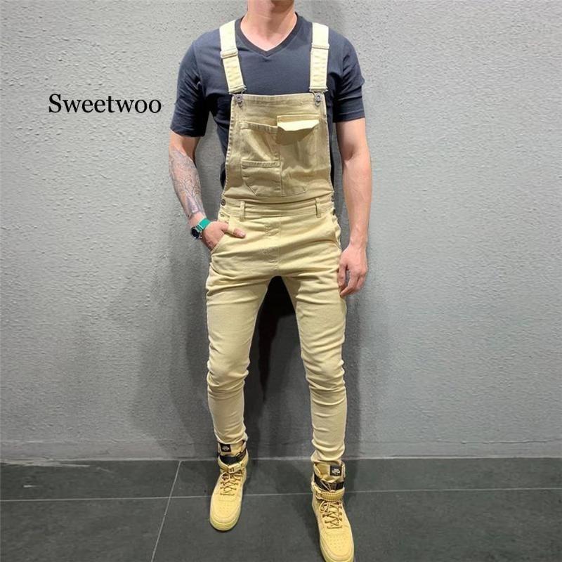 Para hombre de la moda vaquera Peto mono pantalones de los pantalones 2020 Nuevo