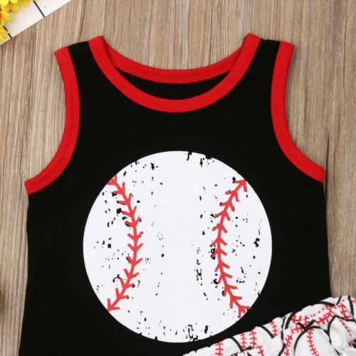 Toddler Girl Clothes 2PCS Toddler Baby Girl Boy Clothes Baseball Tops Vest Pants Summer Outfit Set