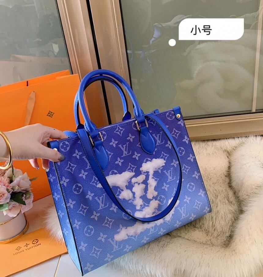 Mulheres Bag Handbag Vintage Casual Tote Moda mulheres mensageiro sacos de ombro Top-Handle bolsa carteira de couro 2020 New Black N036 Azul