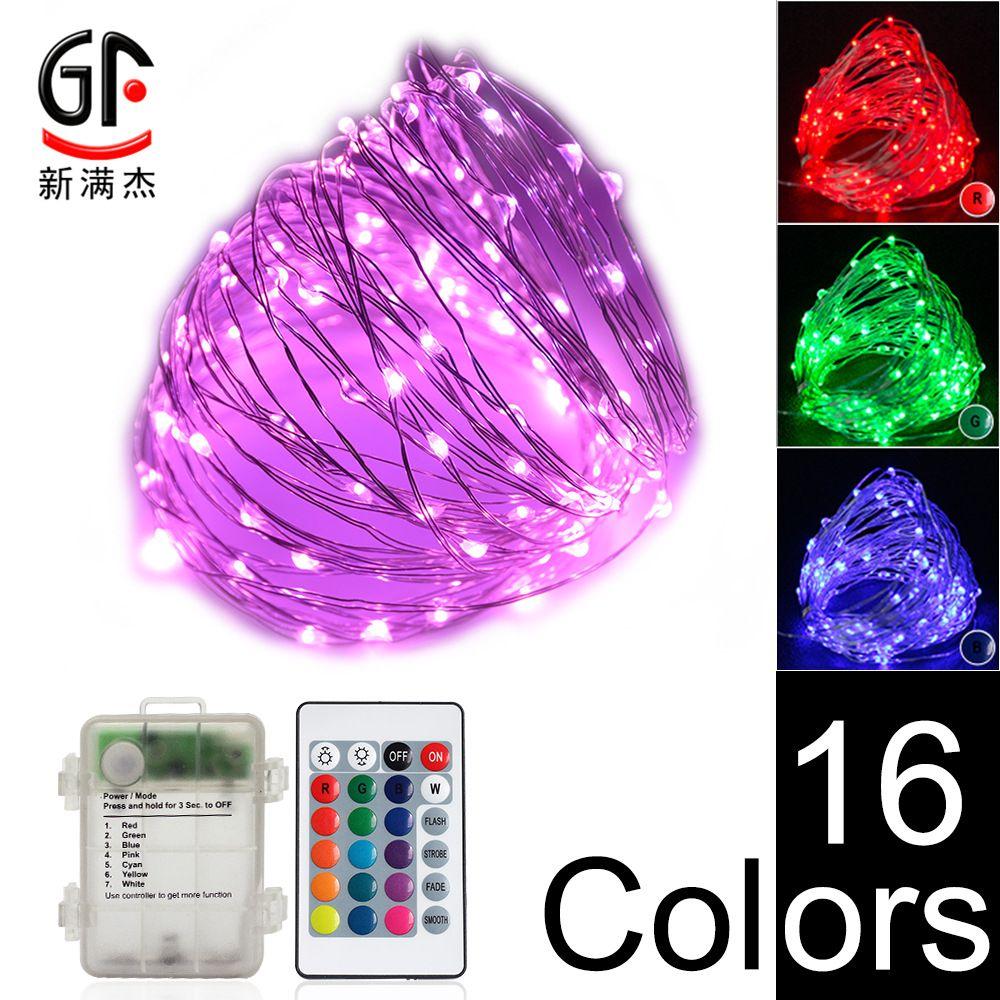 INS colorido síncrono ji dian a prueba de agua que Deng Cadena Color Mando a Distancia M decoloración de alambre de cobre de la lámpara de Navidad decorativo STRIN