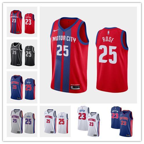 MEN DetroitPistonlarBlake Griffin Derrick Rose swingman basketbol Jersey City