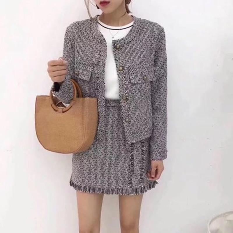 ZAWFL de haute qualité 2017 Suits nouvelle mode veste tweed élégant à manches longues et jupe deux pièces ensemble
