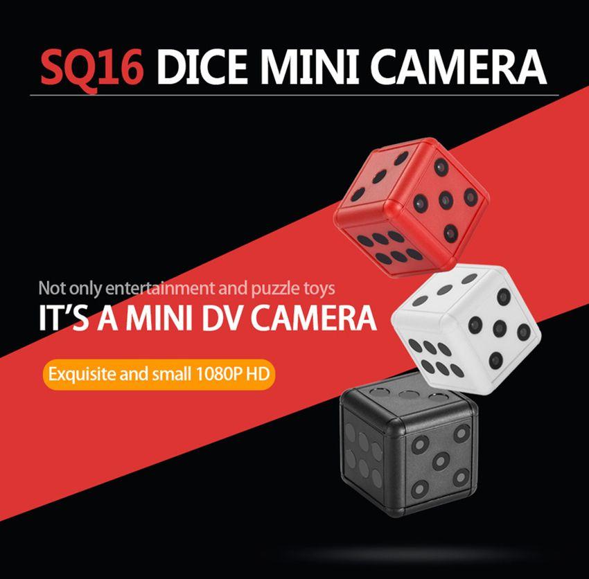 SQ16 Mini cámara HD Sensor de dados de seguridad Videocámara de visión nocturna Micro cámara de video DVR Grabadora de movimiento Videocámara Soporte Videocámaras con tarjeta TF