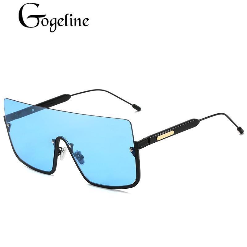 Oversize Square Siamois coupe-vent lunettes de soleil Femmes Hommes Marque Designer Cadre En Métal Grand Coloré océan UV400 Lentille Lunettes De Soleil