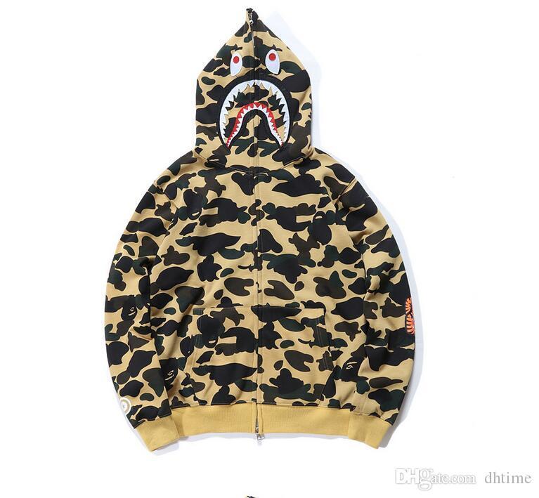 Adolescente Hot Camuflagem Hoodies Outono Inverno Camuflagem Tubarão Com Capuz Hoodies Amantes Hip Hop Cardigan Moletons Casacos