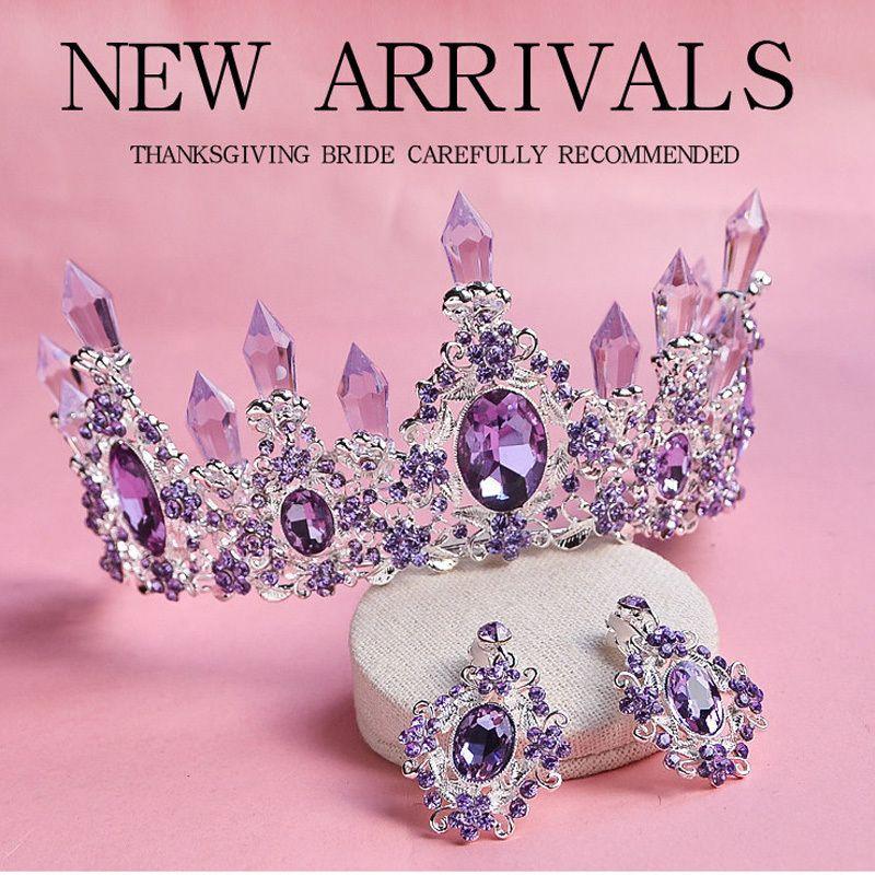 2018 Nouvelle Arrivée Charme Violet Crystal Bridal Tiara Couronnes Magnifique strass Diadem pour la princesse Mariage Accessoires de cheveux V191220