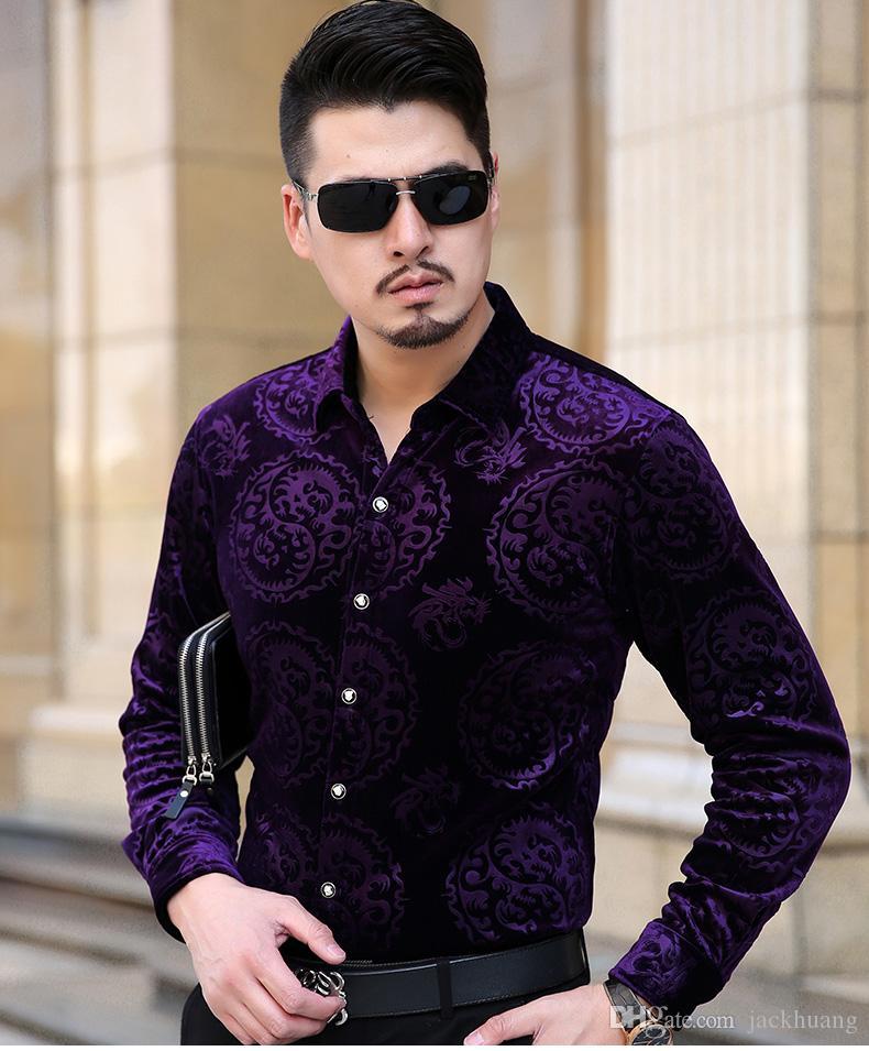 رجل المخملية ثوب قميص نمط التنين الأسود الأزرق الأرجواني الحرير الأعمال عارضة قميص الرجال في فصل الشتاء سميكة قميص