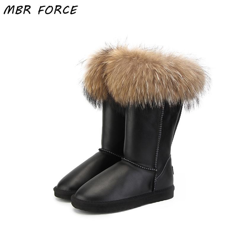 Diz-Yüksek YENİ Moda Boots Kadınlar Cizme Kadınlar Kar% 100 Orijinal su geçirmez Kış Ayakkabı Natürel Deri
