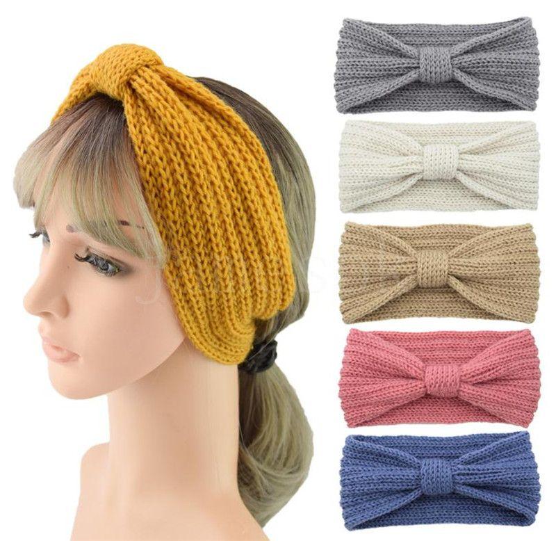 28 ألوان الشتاء محبوك عقال المرأة الأذن دفئا عقدة هيرباند سيدة الكروشيه واسعة وتدبر مقصية turbans DC068