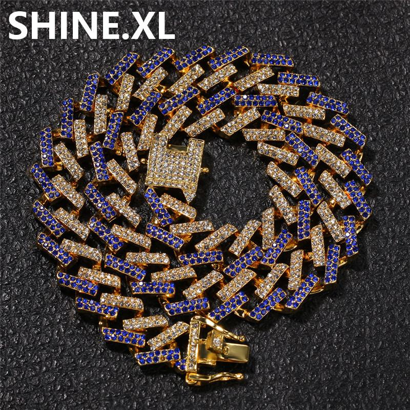 15mm Multicolor Miami kubanischen Kette Halskette übertrieben Persönlichkeit Imitation Gold Diamanten Mens Hip Hop Schmuck Geschenk