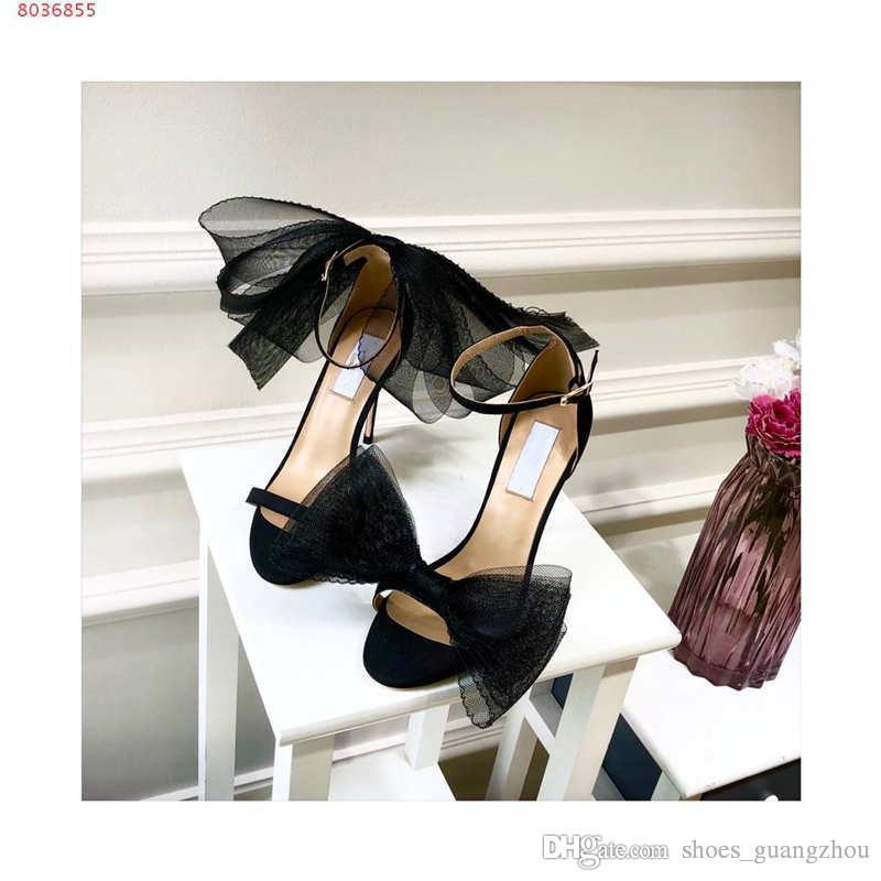 أعلى جودة 2019 مصمم نمط شبكة القوس تحفيز عالية الكعب السيدات الصنادل اللباس أحذية الزفاف أحذية مثير 34-40
