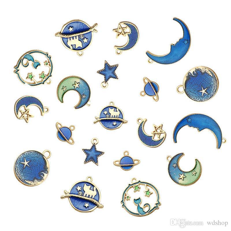 8Pcs Charms émail Moon Star Planète exquis bleu Pendentif Set Pour Jewlery Faire Bracelet bricolage Boucles d'oreilles Collier filles cadeau