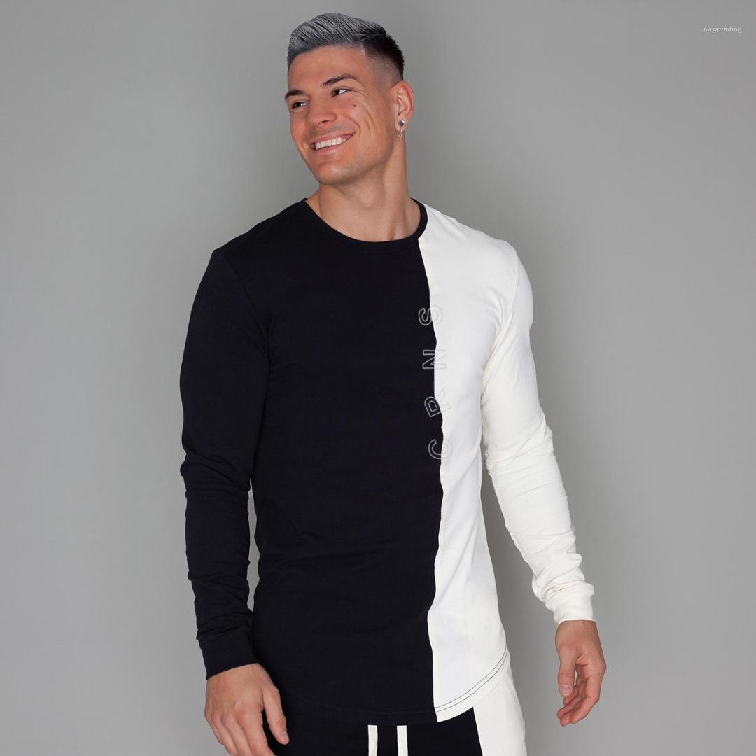 Workout Designer Patchwork Hauts Hommes Gym Fitness T-shirts Autmn printemps