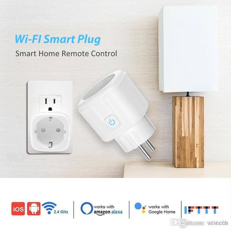Prise intelligente, 16A UE, wifi controleur, intelligent avec moniteur de puissance, wifi prise sans fil intelligent avec Google Alexa commande vocale à domicile
