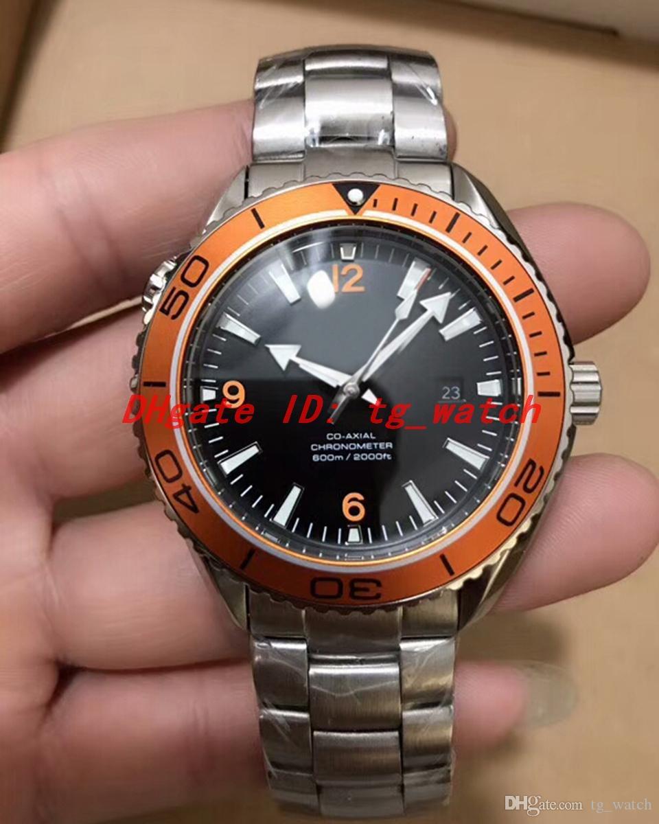 Montre de luxo mens relógios em aço inoxidável preto rosto movimento automático de alta qualidade laranja moldura 232.30.42.21.01.002 Relógio de pulso