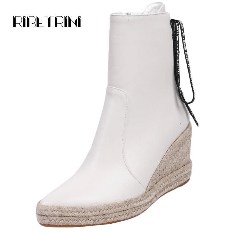 RIBETRINI Hot Sale Lady Straw Soles Plateforme Bottes élégant solide bout pointu cheville Bottes cool Chaussures Compensées Femme Haut