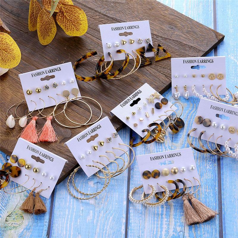 Fashion Tassel Acrylic Earrings For Women Bohemian Earrings Set Big Circle Geometric Drop Earing 2020 Brincos Female DIY Jewelry