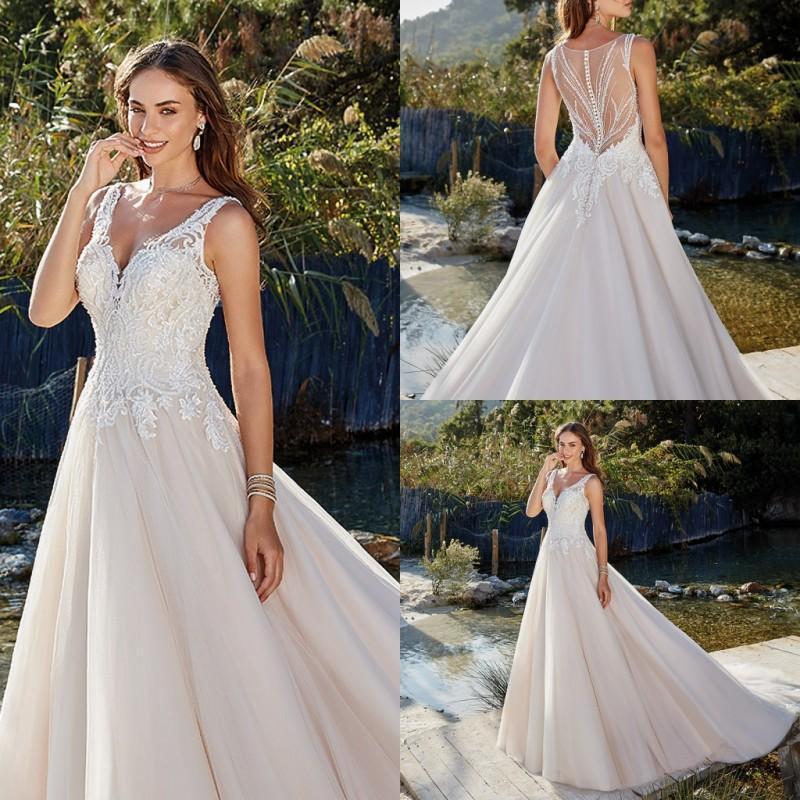 Eddy K 2020 Wedding Dresses V-Neck Lace apliques vestidos de noiva botão Voltar Varrer Vestido de Noiva Train Garden A-Line Vestidos de Noiva