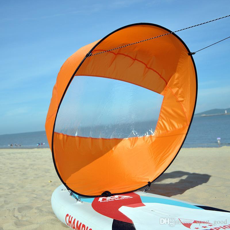 Nova Chegada 42 Polegada Folding Kayak Pá Do Vento Vela Popup Board Remo Vela Remo Downwind Boat com Janela Clara 108 * 108 CM