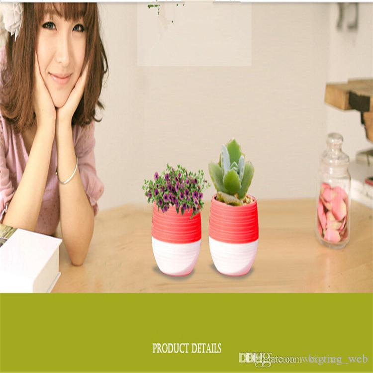 5 colors Plastic Plant Pots Water Storage Flower Pot Indoor Potted Home Garden Decor Planter Root Container