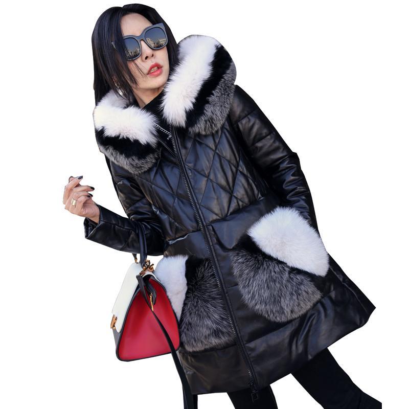 Cappotto in pelle di pecora Giacca in vera pelle coreana Pelliccia di volpe Vera pelliccia Cappotto autunno inverno Giacca donna Abbigliamento 2018 Giù cappotti ZT1564