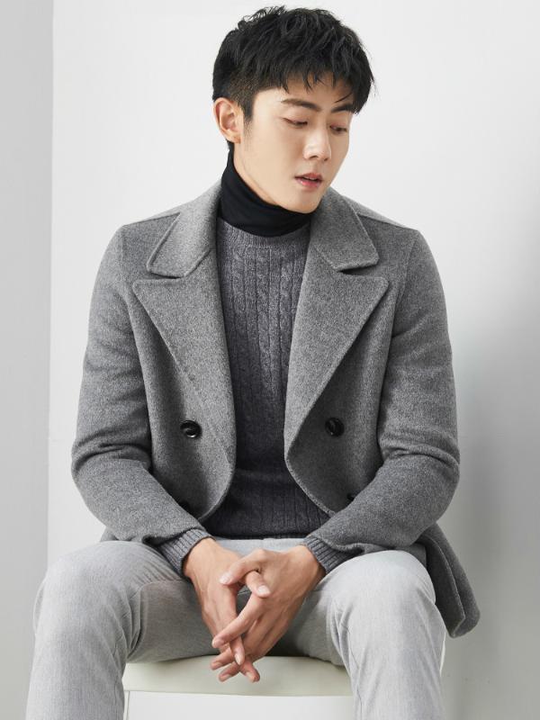 2020 Yeni% 100 Yün Coat Erkekler Kısa El yapımı Bahar Erkek Ceket Yün Palto Palto MG-00-7167 KJ1313 çift taraflı