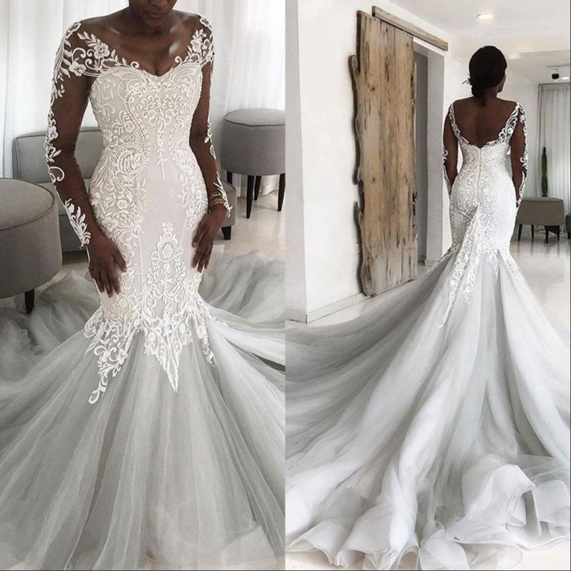 Африканский шнурок Иллюзия назад Русалка Свадебное платье 2020 Принцесса мусульманская длинный хвост свадебные платья с рукавами
