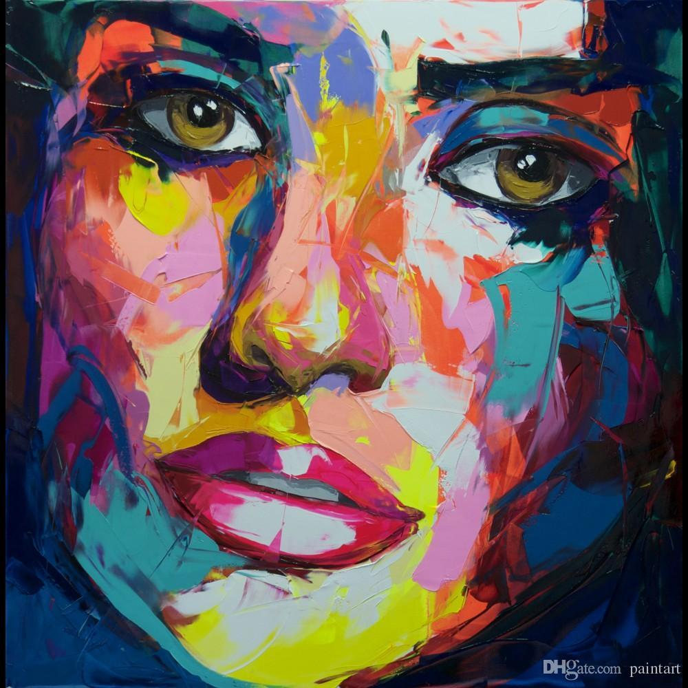 Francoise Nielly Palette Knife Impression Home Artwork Modern Portrait Handmade Oil Painting on Canvas Concave and Convex Texture Face170